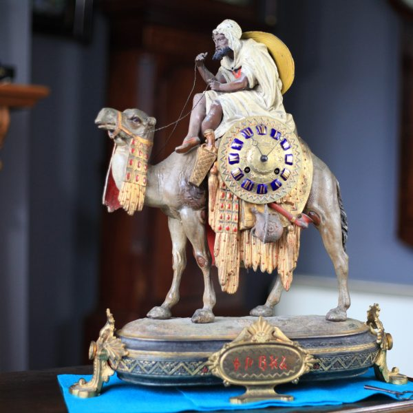 A Rare Cold Painted Spelter Figurine Of A Camel And Egyptian Meharis C1880