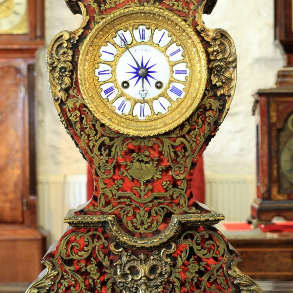 A Very Original Red Tortoiseshell And Boulle Clock By Henri Marc