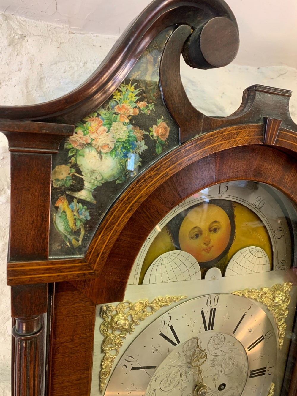 A Rare Decoupage Cumbria Longcase Clock By Taylor Of Whitehaven
