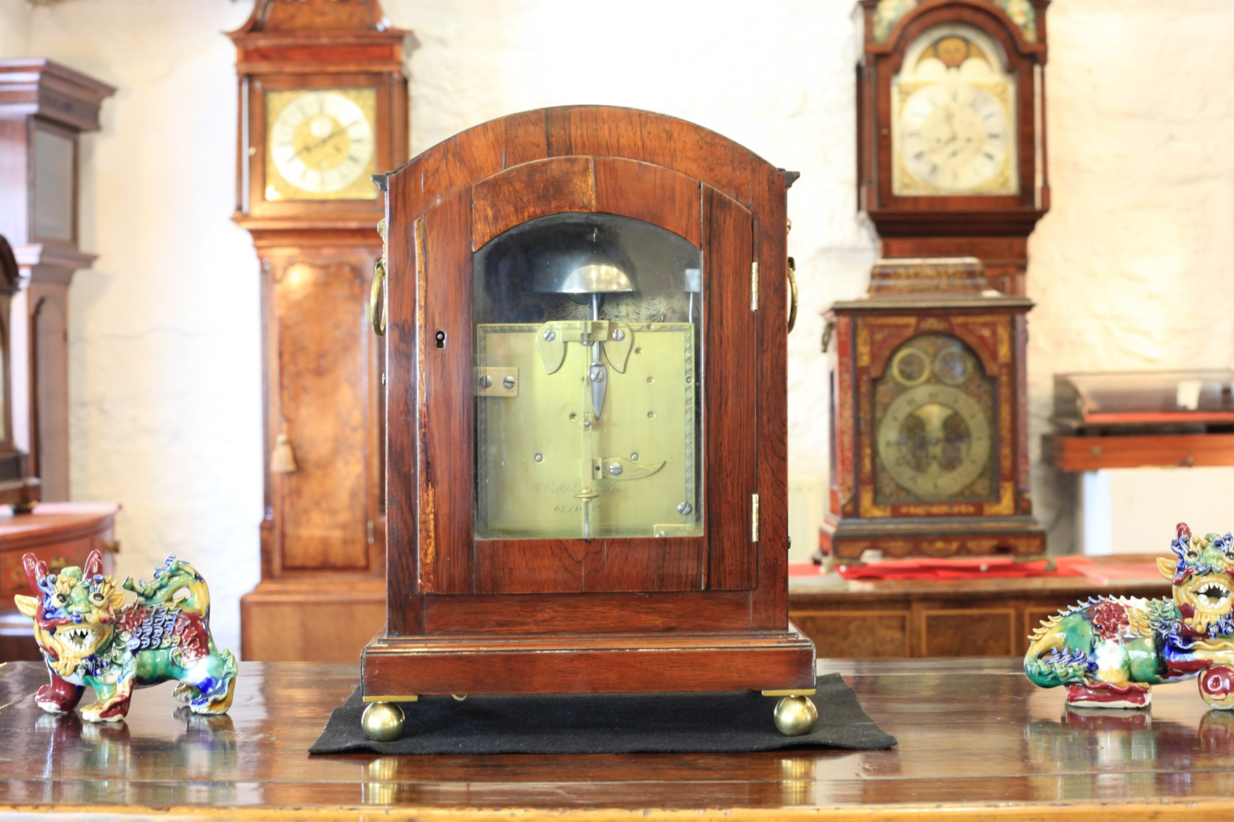 A Stunning Small Rosewood Bracket Clock By Mitchell and Son Of Glasgow