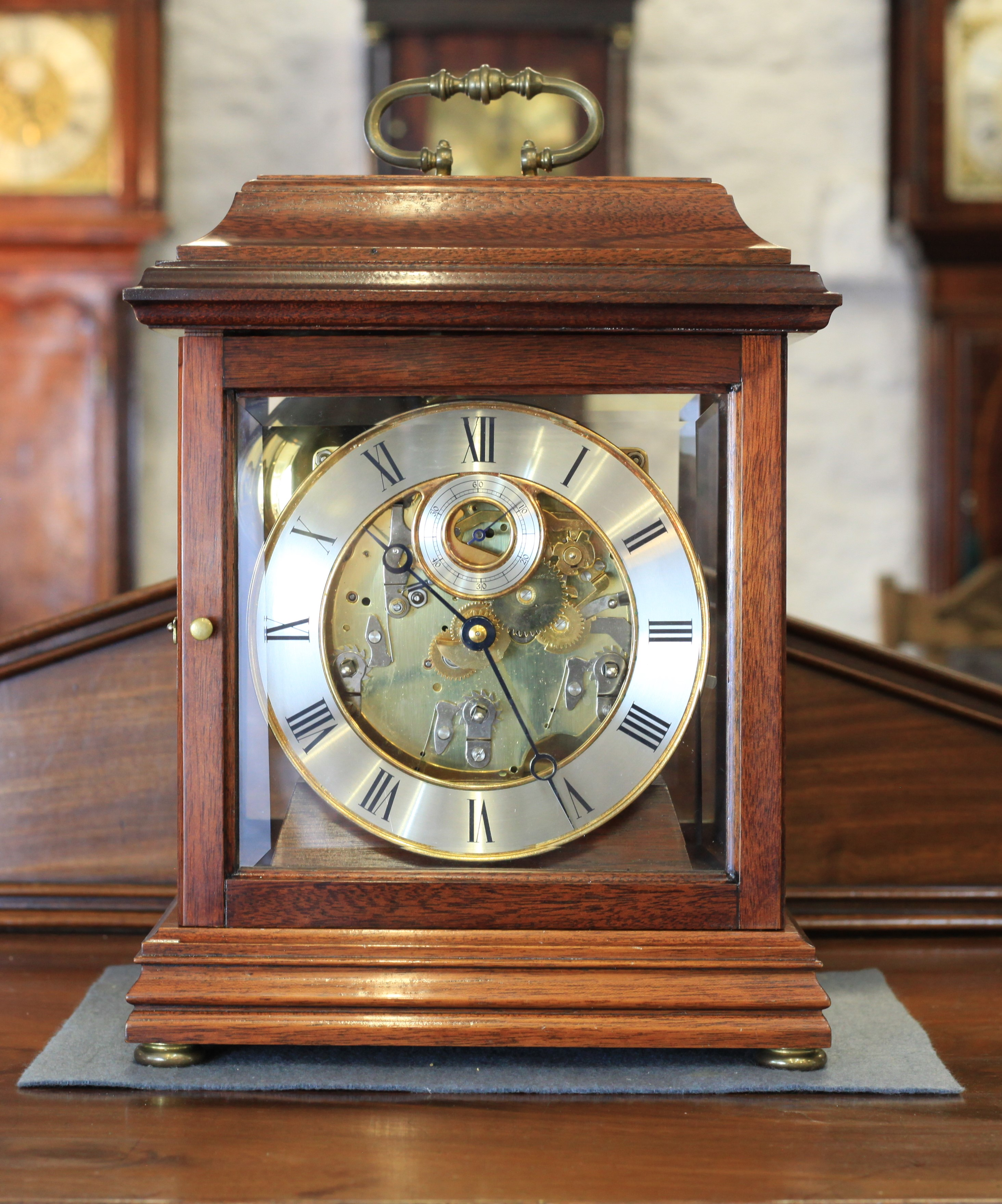 A Rather Lovely Hermle Five Glass Mantel Clock with four Polished Bells.
