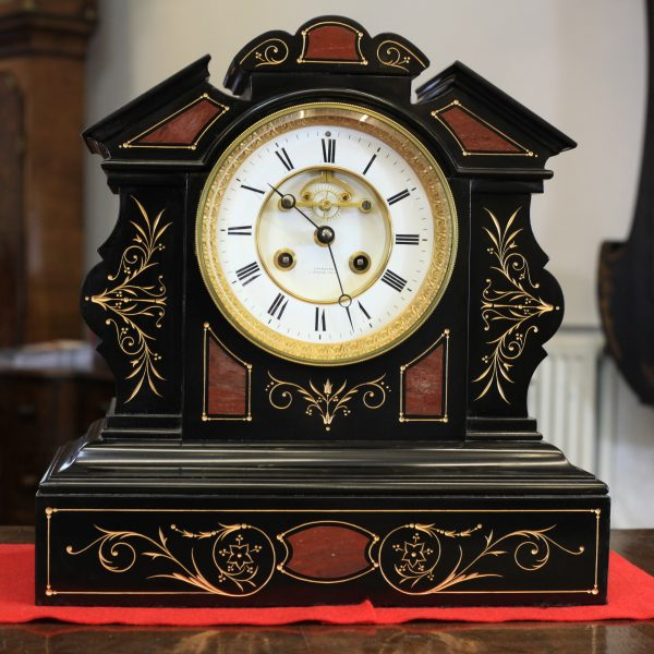 A Lovely Black Marble visible escapement Mantel Clock by Marti c1870